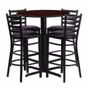Alvarez Modern Round Laminate 5 Piece Upholstered Pub Table Set Red Barrel Studio