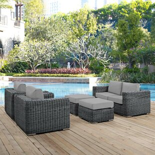 Alaia 5 Piece Rattan Sunbrella Sectional Seating Group with Cushions