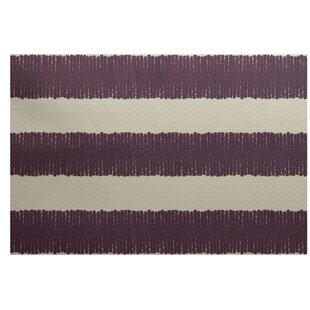 Leann Twisted Stripe Print Purple Indoor/Outdoor Area Rug