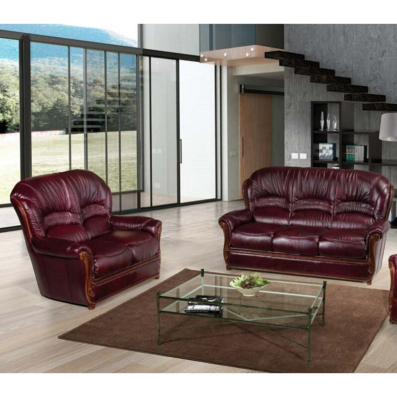 Burgundy 2 Piece Leather Living Room Set