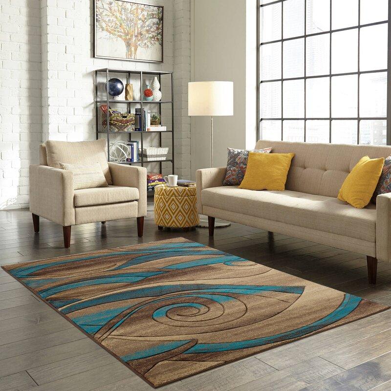 Wrought Studio Adonia Abstract Blue Beige Area Rug Wayfair