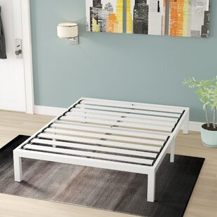 Hukill White Metal Platform Bed Frame