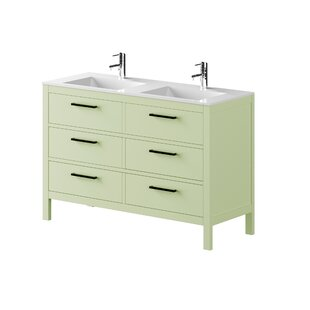 Nakagawa Solid Pine 1200mm Free-standing Double Vanity Unit By 17 Stories