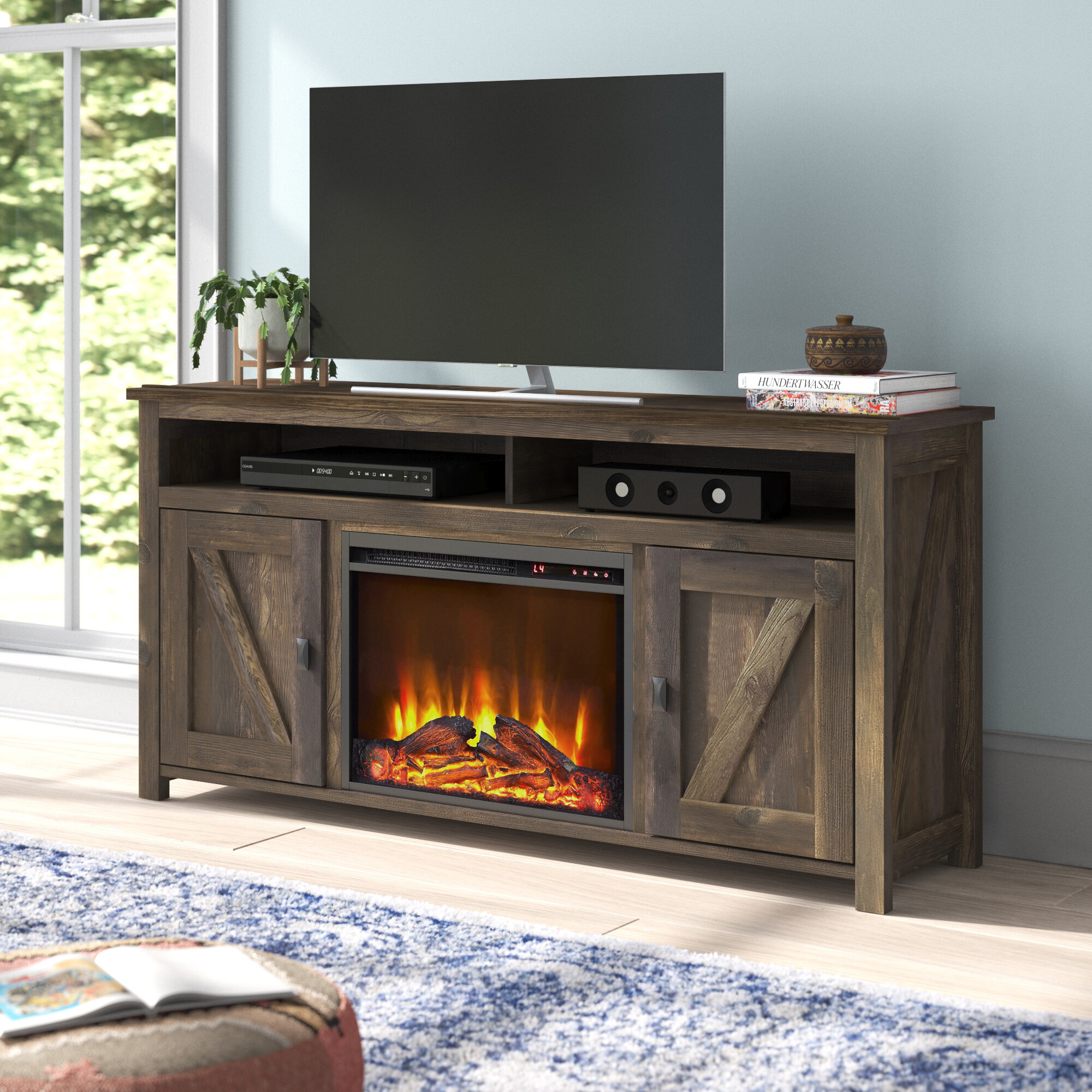 Mistana Whittier Tv Stand For Tvs Up To 65 With Electric Fireplace Included Reviews Wayfair
