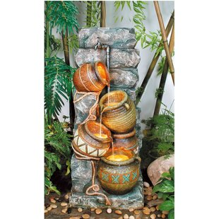 OK Lighting Resin Southern Pots Fountain with LED Light