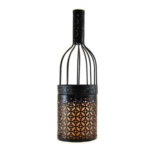 LumaBase Wine Bottle Metal Lantern