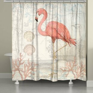 Coastal Flamingo Single Shower Curtain