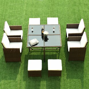Goncalo 9 Piece Dining Set with Cushions