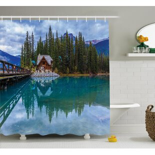 Compare prices Banjo Lake Scenery Cottage Shower Curtain ByLoon Peak
