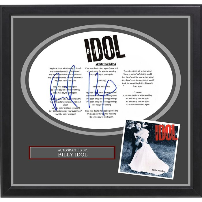 White Wedding Billy Idol.Billy Idol White Wedding Autographed Lyric Collage