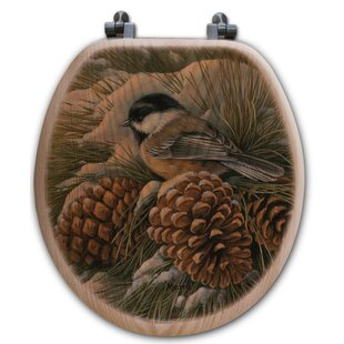 WGI-GALLERY December Dawn Chickadee Oak Round Toilet Seat