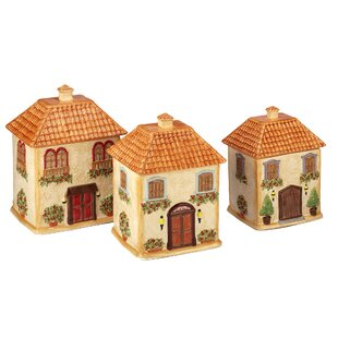 3D Villa House 3 Piece Kitchen Canister Set