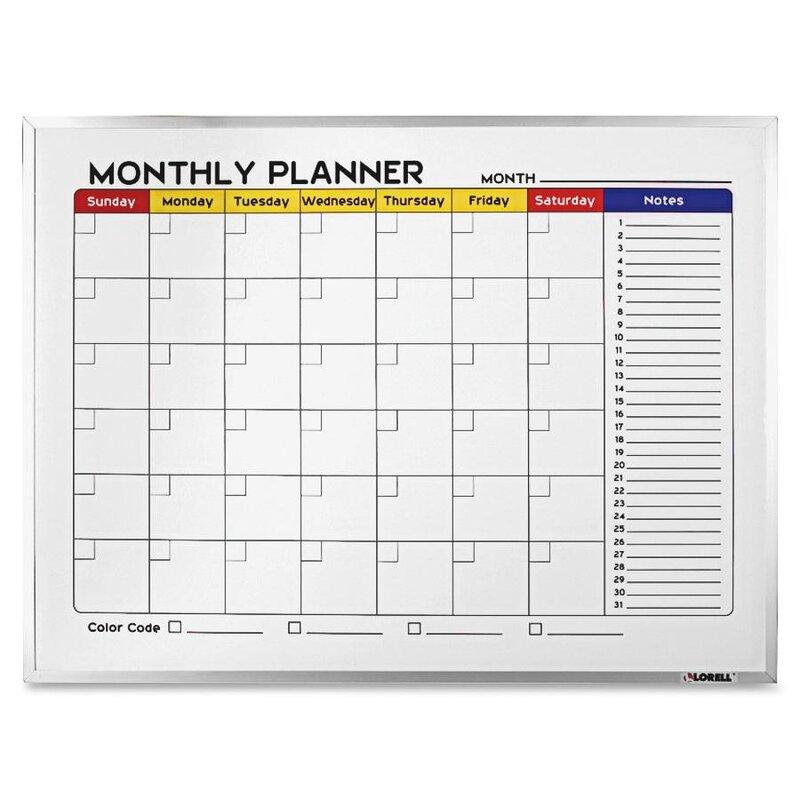 Lorell Dry-Erase Wall Mounted Calendar/Planner Whiteboard & Reviews ...