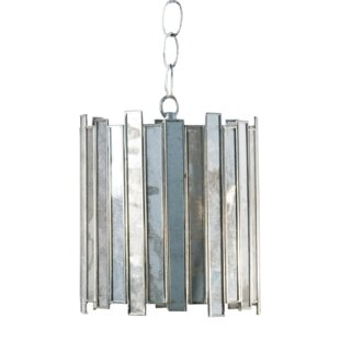 Worlds Away Antique Mirror Faceted 1-Light Drum Pendant