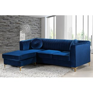 Navy Blue Velvet Sectional | Wayfair