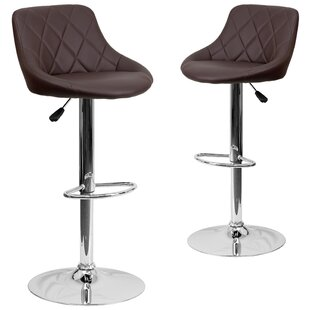 Wrought Studio Fleur Adjustable Height Swivel Bar Stool (Set of 2)