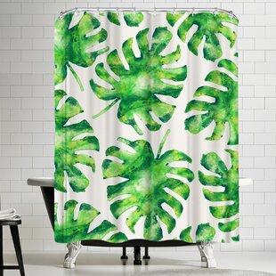 Monstera Leaves Single Shower Curtain