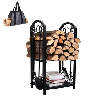 All-in-One Heavy Duty Hearth Indoor/Outdoor Firewood Log Rack By PHI VILLA