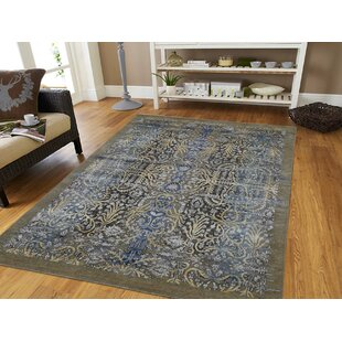 Compare prices One-of-a-Kind Florine Hand-Knotted 5' x 7' Wool/Silk Brown/Blue/Black Area Rug By Isabelline