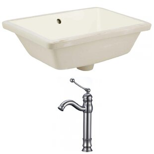 Deals Ceramic Rectangular Undermount Bathroom Sink with Faucet and Overflow ByAmerican Imaginations