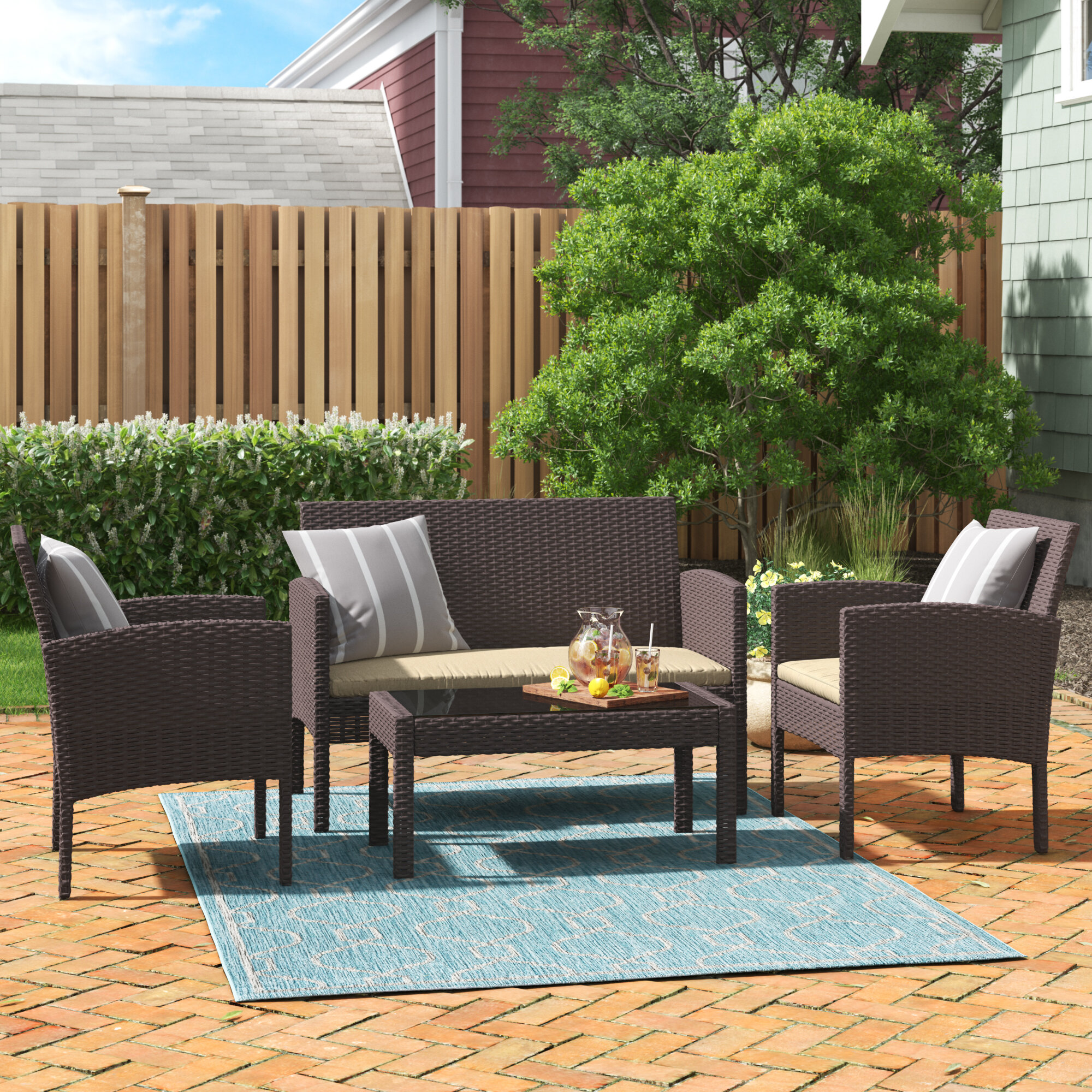 World Menagerie Tessio 4 Piece Rattan Sofa Seating Group With Cushions Reviews Wayfair