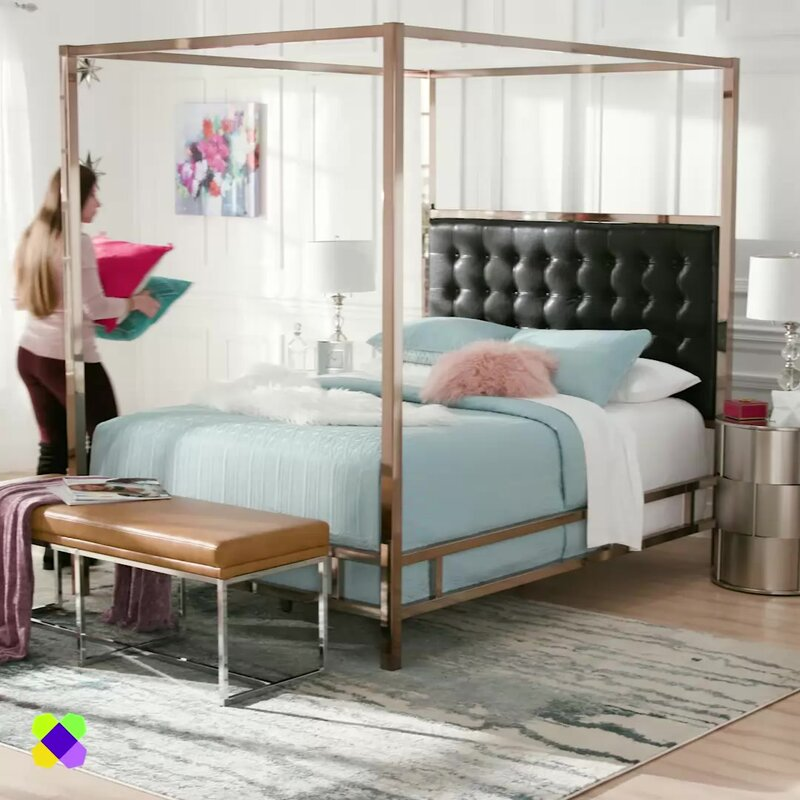 Mercury Row Mcmeans Upholstered Canopy Bed & Reviews | Wayfair