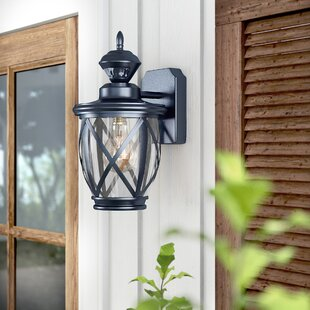 Kansas 150⁰ Motion Activated Decorative 1-Light Outdoor Wall Lantern