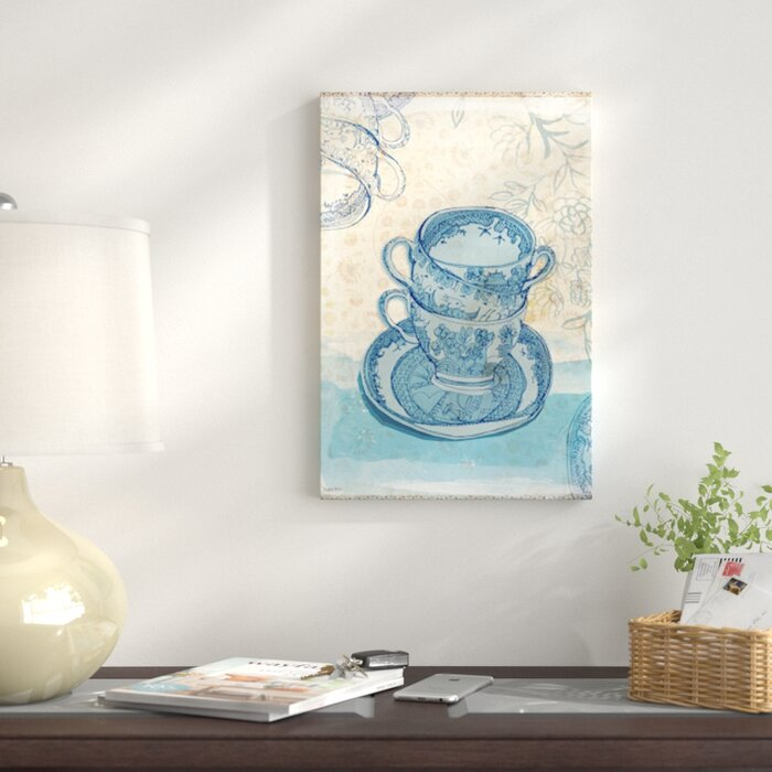 Blue Willow Pattern Graphic Art Print On Canvas
