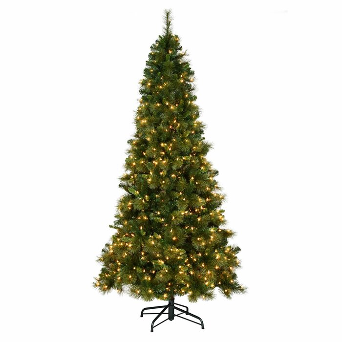 9ft Christmas Tree.Brussels Slim Mixed 9ft Green Pine Artificial Christmas Tree With 700 Lights