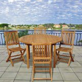 Tysen International Home Outdoor 5 Piece Teak Dining Set