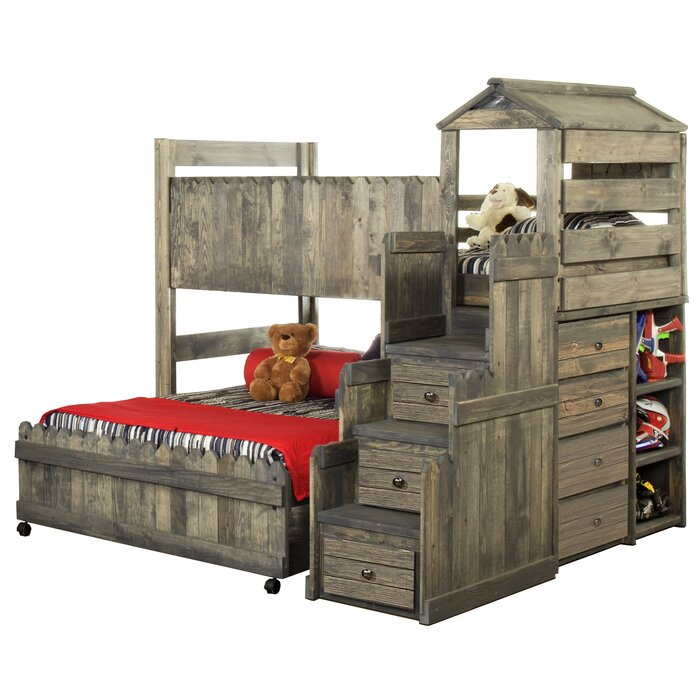 reputable site 9b256 d3370 Ranieri Twin Over Full L-Shaped Bunk Bed with Mattress, Drawers and Bookcase