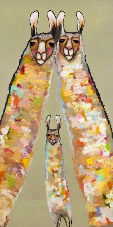 Ebern Designs Llama Family Wrapped Canvas Acrylic Painting Print Wayfair