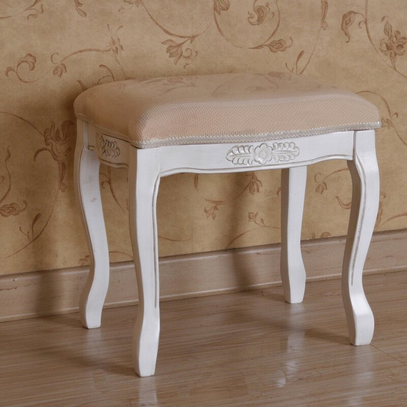 Awe Inspiring Adelinna Hand Carved Antique White Vanity Stool Alphanode Cool Chair Designs And Ideas Alphanodeonline