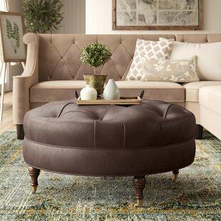 Lowery Tufted Leather Ottoman ..