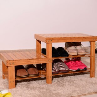 Best Choices Strip Pattern Tiers Bamboo 6 Pair Shoe Storage Bench By Rebrilliant
