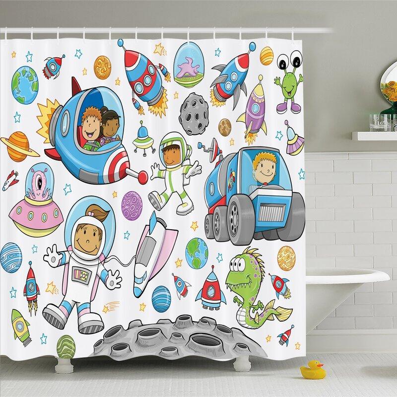 Outer Space Deep Astronaut Alien Rockets On Moon Kids Nursery Shower Curtain Set