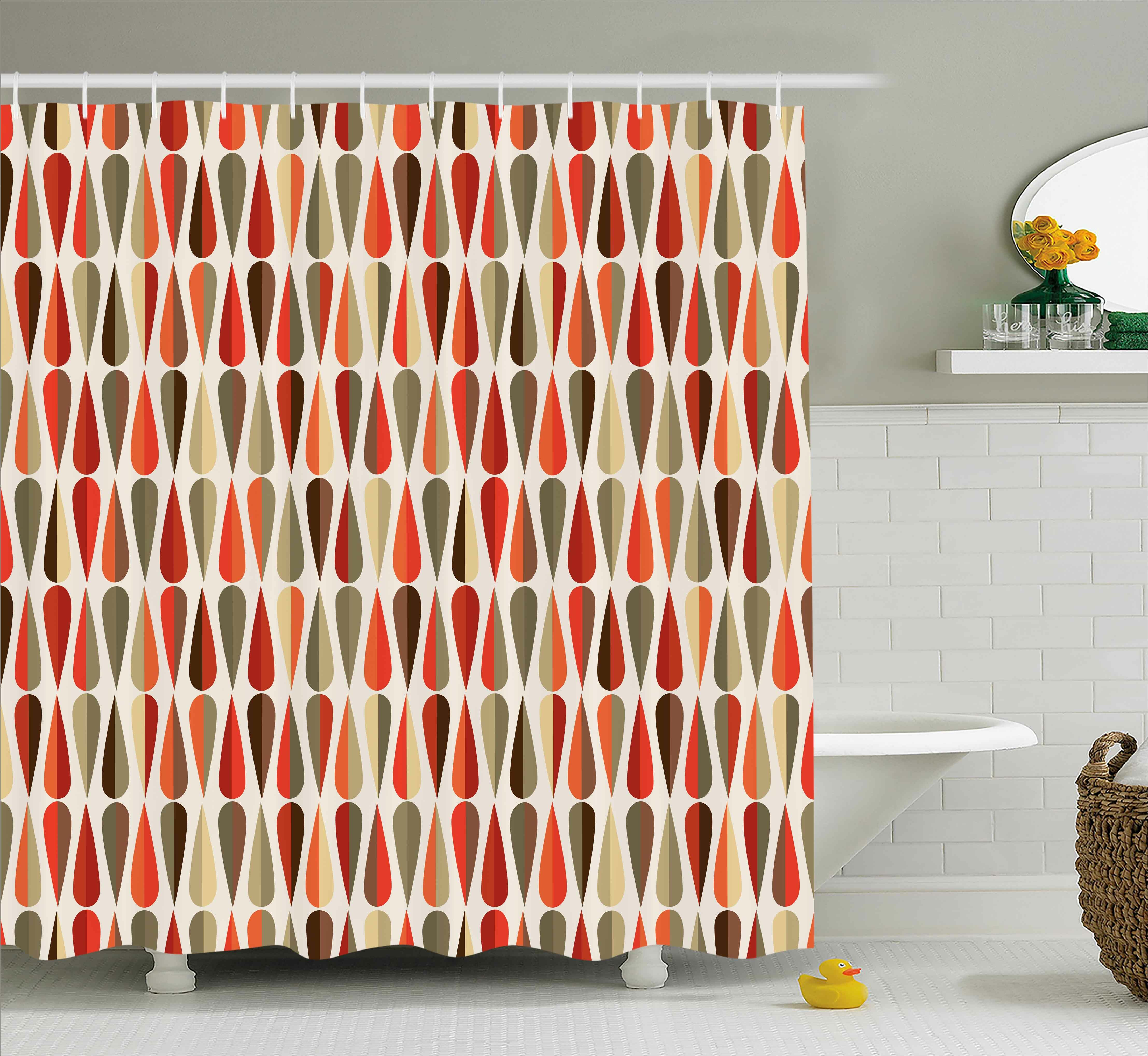 Ivy Bronx Alexander Retro Home Decor 60S 70S Style Geometric Round Shaped  Design With Warm Colors Print Shower Curtain | Wayfair