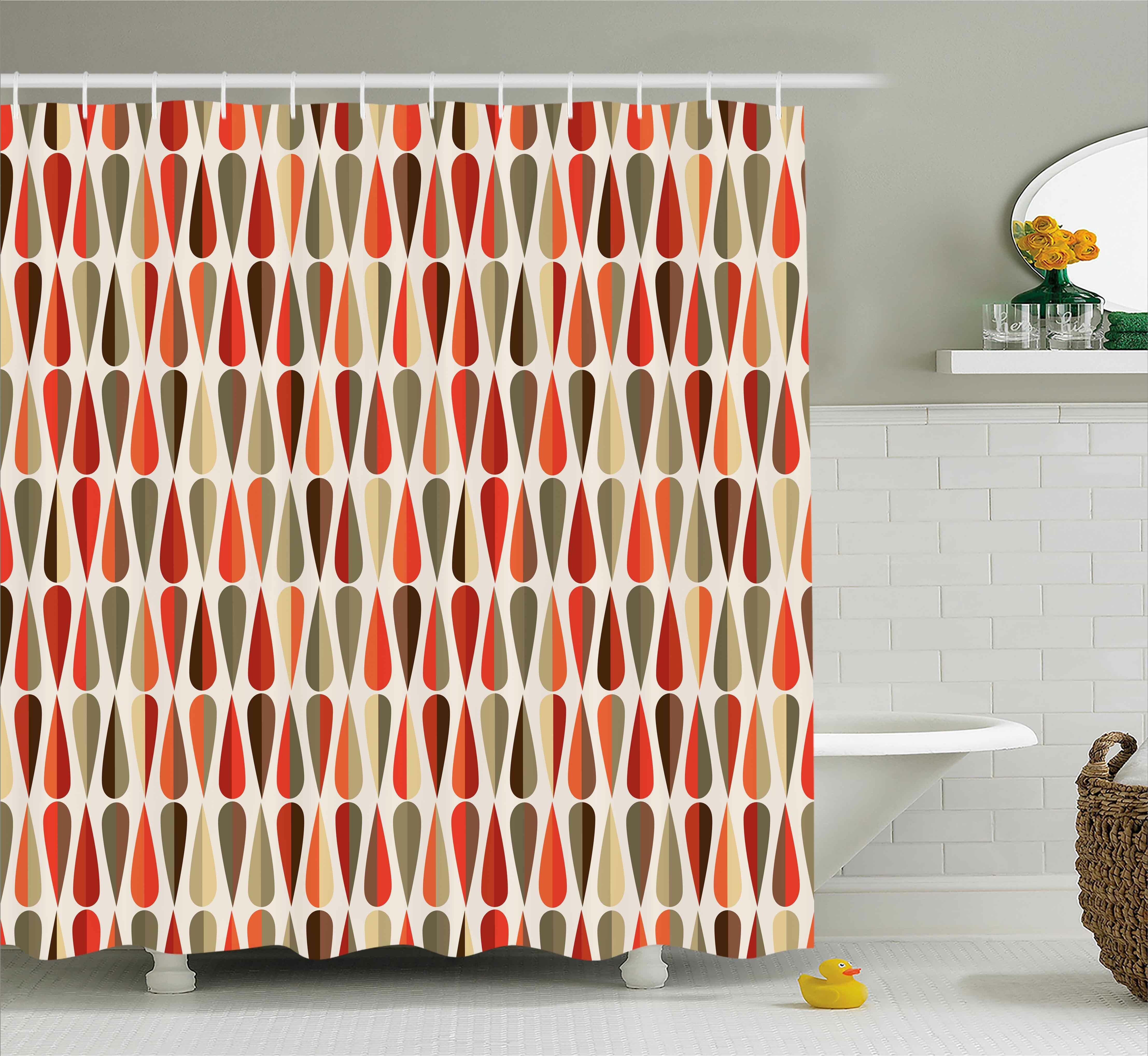 Ivy Bronx Alexander Retro Home Decor 60s 70s Style Geometric Round Shaped Design With Warm Colors Print Single Shower Curtain Wayfair