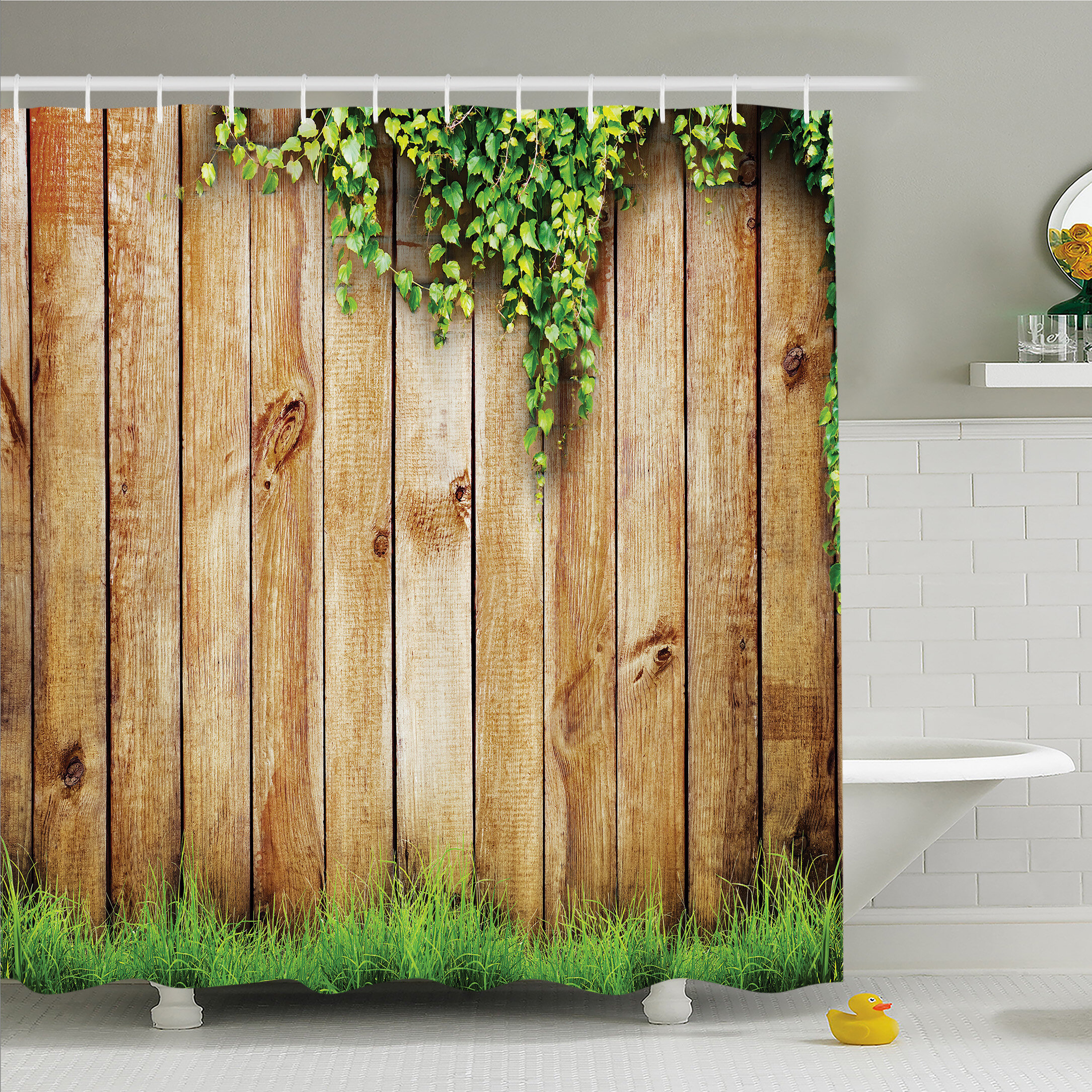 Ambesonne Rustic Home Fresh Spring Grass And Leaf Plant Over Old Wood Fence  Garden Field Photo Shower Curtain Set | Wayfair