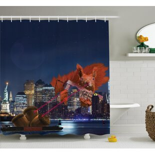 Jeanne Animal Cartoon Like New York City Scenery With a Big Laser Eyed Cute Squirrel Image Single Shower Curtain