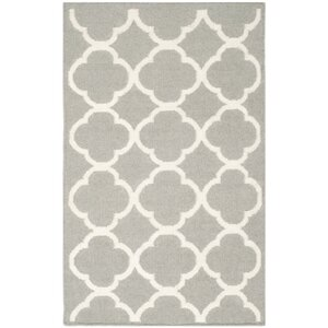Dhurries Wool Light Gray/Ivory Reversible Area Rug