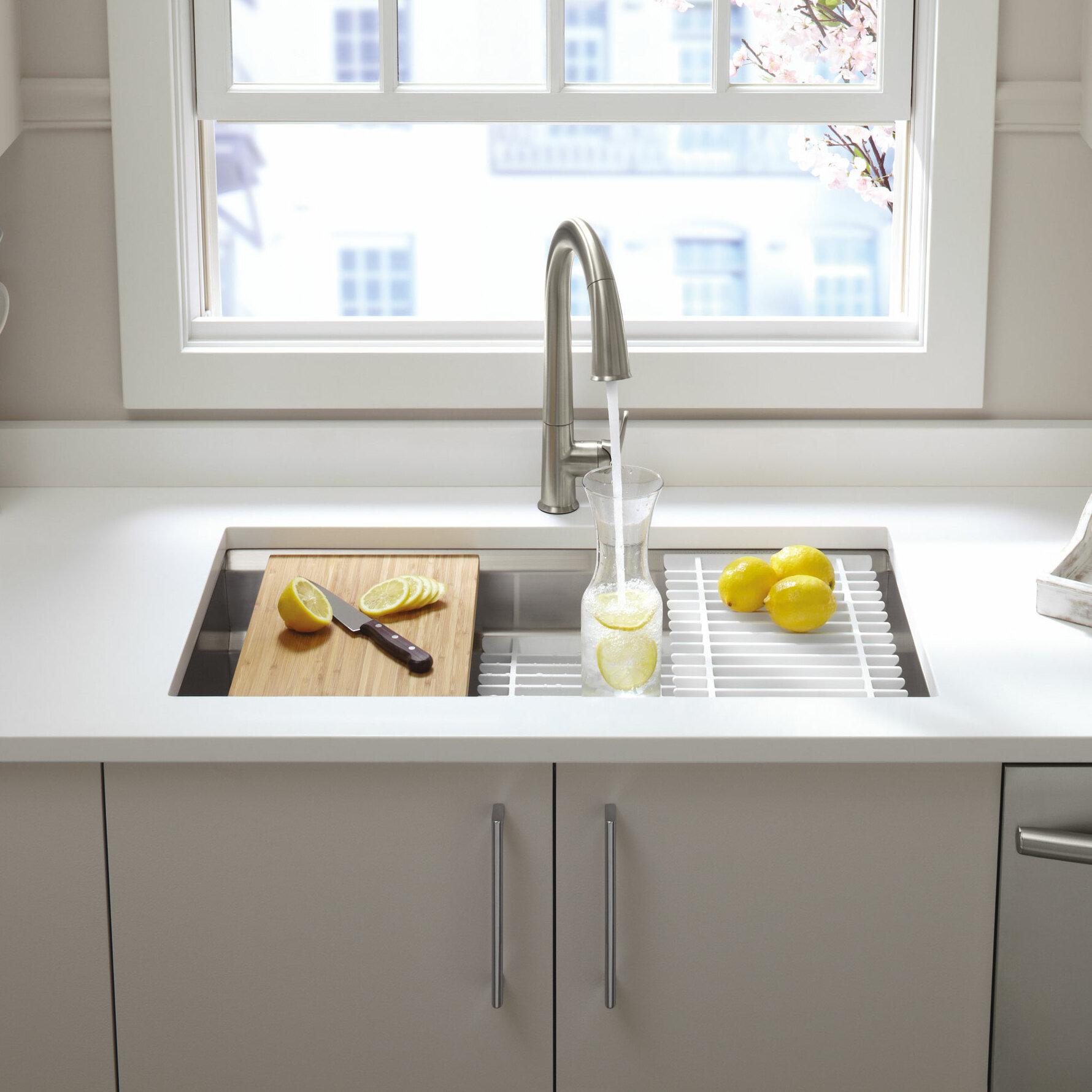 K 5540 Na Prolific 33 L X 17 3 4 W 11 Undermount Single Bowl Kitchen Sink With Accessories