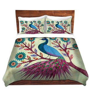 DiaNoche Designs Blue Peacock Duvet Cover Set