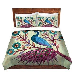 DiaNoche Designs Blue Peacock Duvet Cover..