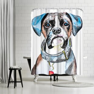 Review Allison Gray Boxer Shower Curtain by East Urban Home