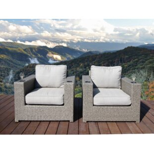 Brayden Studio Simmerman Patio Chair with Cushions (Set of 2)
