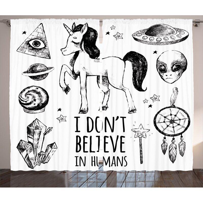 East Urban Home Unicorn Mysticism Occult Featured Set With Pyramids Aliens Dream Catcher Grunge Print Graphic Print Text Semi Sheer Rod Pocket Curtain Panels Wayfair
