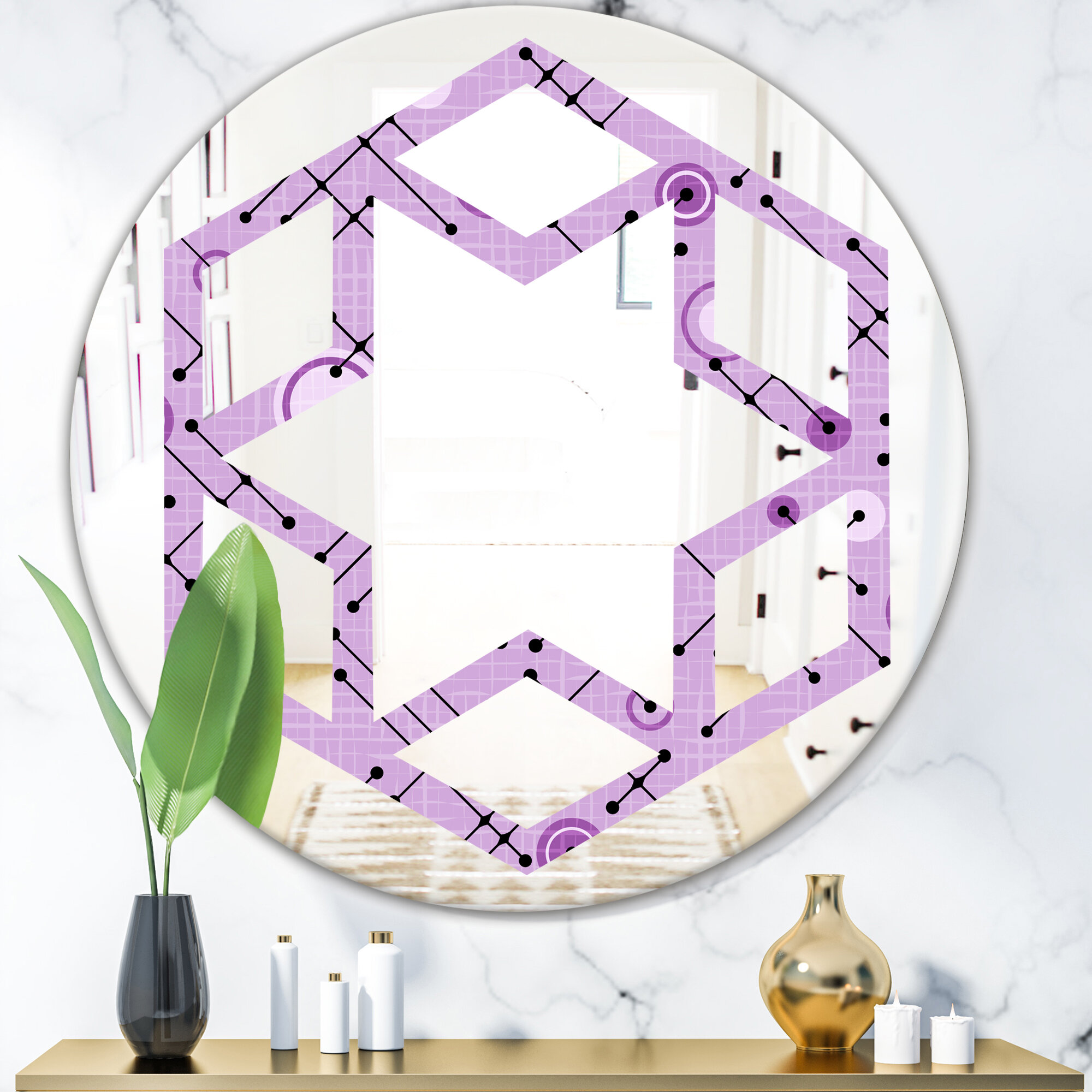 East Urban Home Hexagon Star 1950 Pattern Iii Eclectic Frameless Wall Mirror