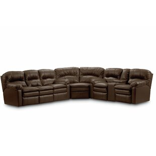 Dellbrook Leather Reversible Reclining Sectional Red Barrel Studio