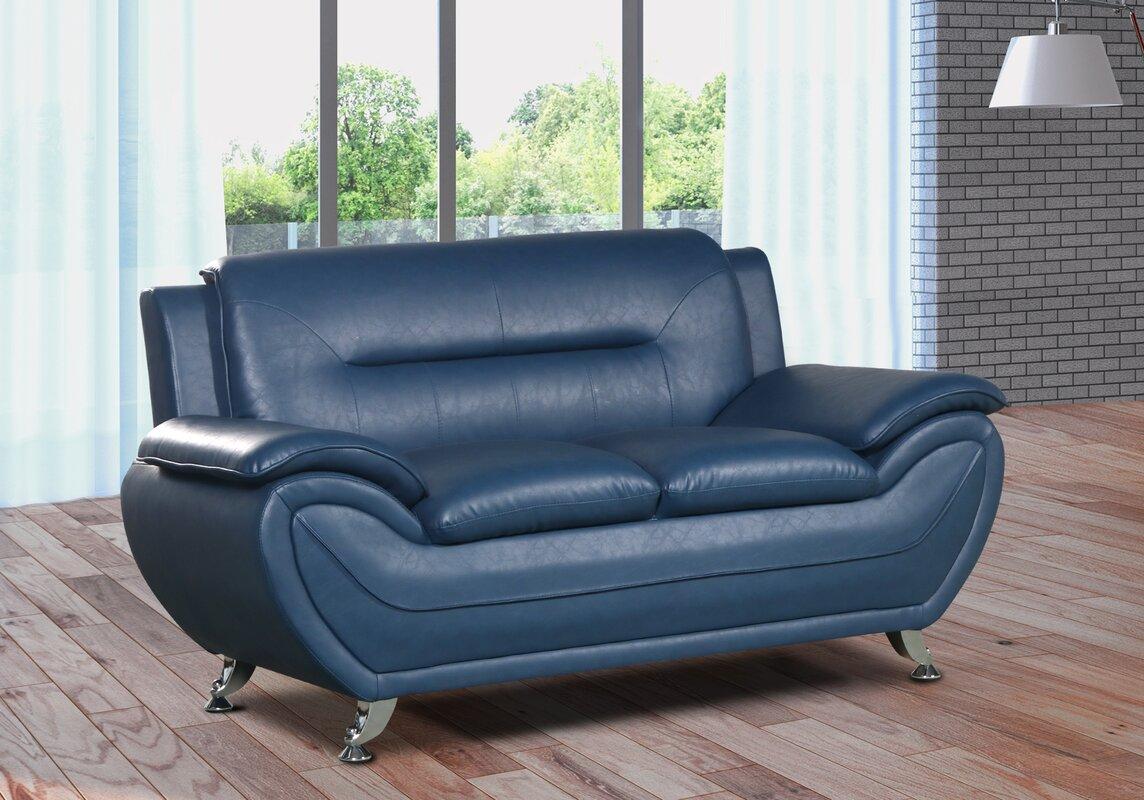 Zipcode Design Lester Modern Living Room Faux Leather Loveseat ...